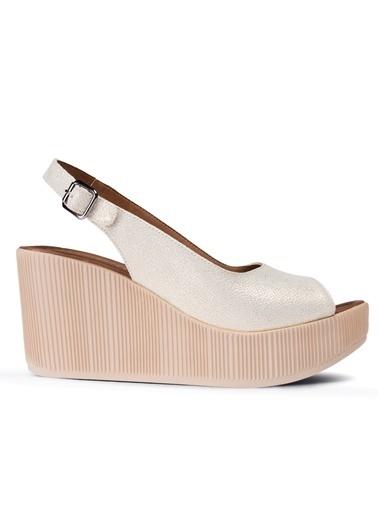 Deery Hakiki Deri Sandalet Beyaz